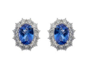 18ct White Gold 2.38ct Tanzanite & Diamond Earrings