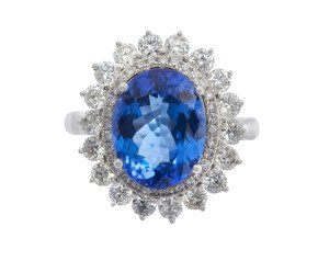 4.57ct Tanzanite & Diamond Double Cluster Ring
