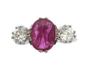 18ct Gold 1.64ct Ruby & Diamond Trilogy Ring