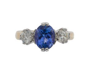 18ct Gold 2.33ct Tanzanite & Diamond Trilogy Ring