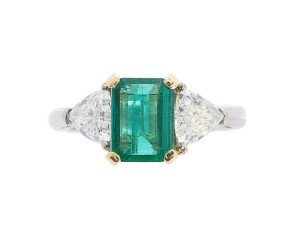 18ct White Gold 1.18ct Emerald & Diamond Trilogy Ring