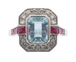 1.70ct Aquamarine, Ruby & Diamond Cluster Ring