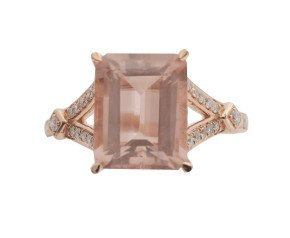 18ct Rose Gold 3.25ct Morganite & Diamond Dress Ring