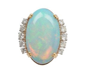 18ct Gold 15.00ct Opal & Diamond Cocktail Ring