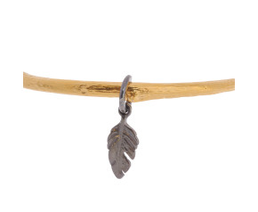 18ct Gold Vermeil Twig Bangle With Feather