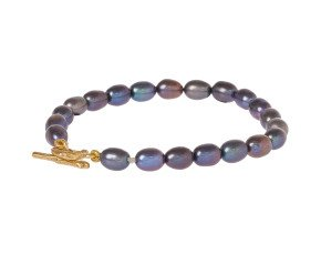 18ct Gold Vermeil Black Pearl Bracelet With Twig Catch