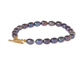 18ct Gold Vermeil Black Pearl Bracelet With Twig Catch