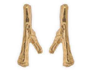 18ct Gold Vermeil Twig Studs