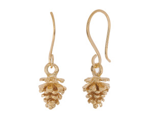 18ct Gold Vermeil Pine Cone Drop Earrings