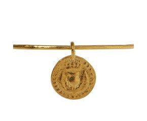 18ct Yellow Gold Vermeil Bawbee Coin Bangle