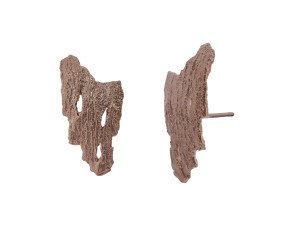 18ct Rose Gold Vermeil Bark Earrings