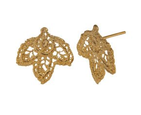 18ct Gold Vermeil Lace Leaf Stud Earrings