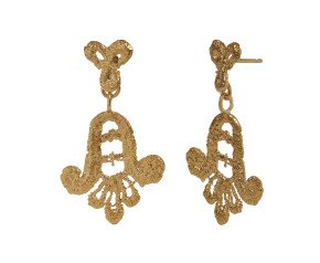 18ct Gold Vermeil Lace Double Drop Earrings