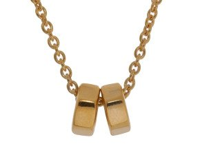 Sterling Silver & Gold Plate Hex Nut Necklace