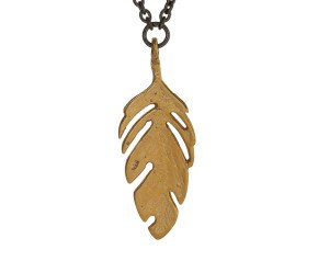 18ct Gold Vermeil & Black Rhodium Feather Necklace