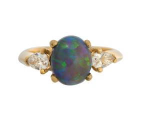 18ct Gold 1.25ct Lightening Ridge Black Opal & Diamond Trilogy Ring