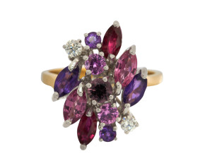 18ct Gold Amethyst, Pink Sapphire, Ruby & Diamond Cluster Ring