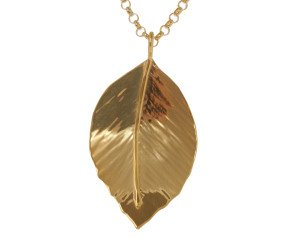 Sterling Silver & Yellow Gold Vermeil Small Beech Leaf Pendant
