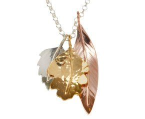 Sterling Silver Rose & Yellow Gold Vermeil Triple Leaf Pendant