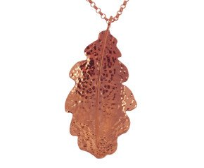 Sterling Silver & Rose Gold Vermeil Large Oak Leaf Pendant