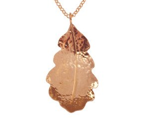 Sterling Silver & Rose Gold Vermeil Medium Oak Leaf Pendant