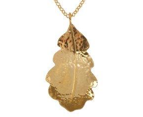 Sterling Silver & Yellow Gold Vermeil Medium Oak Leaf Pendant