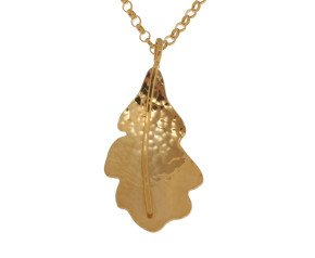 Sterling Silver & Yellow Gold Vermeil Small Oak Leaf Pendant