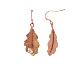 Sterling Silver & Rose Gold Vermeil Oak Leaf Earrings