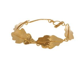 Sterling Silver & Yellow Gold Vermeil Oak Leaf Bracelet