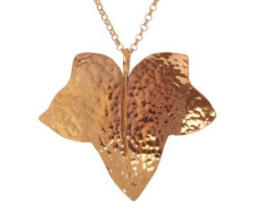 Sterling Silver & Rose Gold Vermeil Large Ivy Leaf Pendant