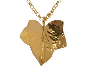 Sterling Silver & Yellow Gold Vermeil Medium Ivy Leaf Pendant