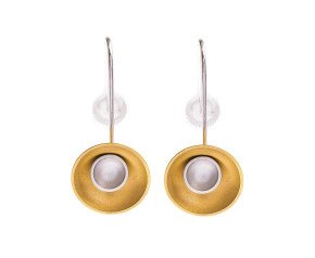 Sterling Silver & Gold Vermeil Large Target Drop Earrings