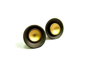 Oxidised Sterling Silver & Gold Vermeil Large Target Studs