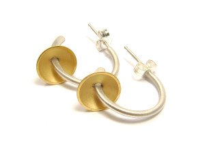 Sterling Silver & Gold Vermeil Target Hoop Earrings