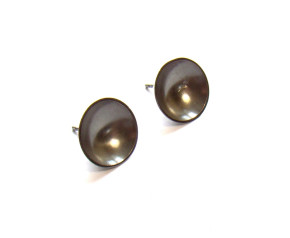 Sterling Silver Oxidised Plain Large Target Studs