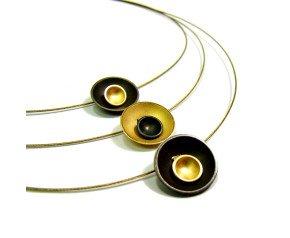 Oxidised Sterling Silver & Gold Vermeil Triple Target Necklet