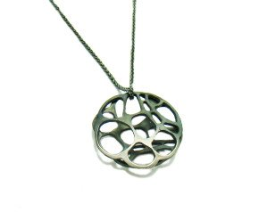 Oxidised Sterling Silver Round Lacewing Pendant