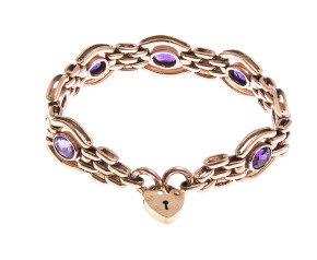 Pre-Owned 9ct Gold 5.25ct Amethyst Bracelet