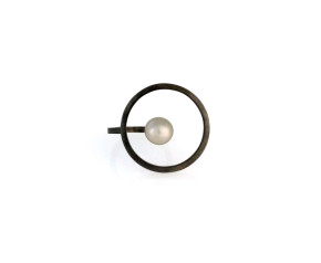 Black Oxidised Sterling Silver White Pearl Orbit Halo Ring