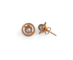 Sterling Silver & Gold Vermeil Orbit Lavender Pearl Stud Earrings