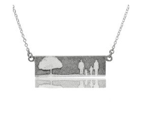 Sterling Silver Family of Four & Tree Necklace