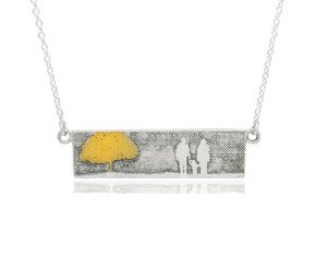 Sterling Silver Family of Three & Golden Tree Necklace