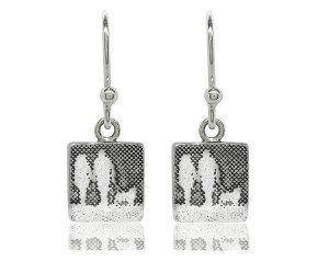 Sterling Silver Couple & Mans Best Friend Drop Earrings