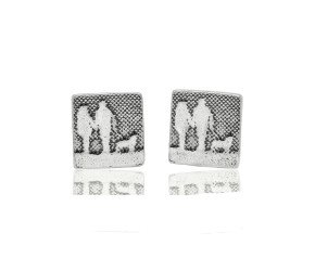 Sterling Silver Couple & Mans Best Friend Earrings