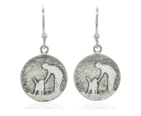 Sterling Silver Dog Drop Earrings