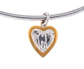 Sterling Silver Hearts of Gold Bangle
