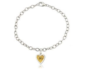 Sterling Silver Hearts of Gold Bracelet