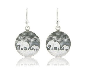 Sterling Silver Mother & Baby Elephant Earrings