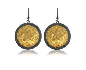 Sterling Silver Black & Gold Giraffe Earrings