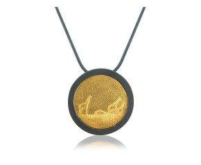 Sterling Silver Black & Gold Giraffe Necklace